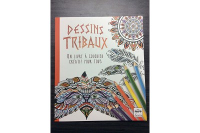 Livre à colorier anti-stress : Dessins tribaux